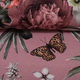 Matti: digitaal bedrukte tricot: bloemen en vlinder op oudroze, grote print! _