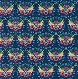 Flora: tricot met bloemenvlinders op donkerblauw naar een ontwerp van Jolijou_