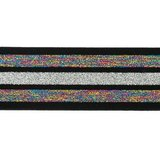 taille-elastiek 4 cm breed:strepen lurex regenboogkleuren en zilver op zwart/ HALVE METER_