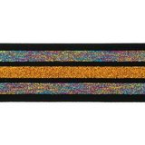 taille-elastiek 4 cm breed:strepen lurex regenboogkleuren en oranje/goud op zwart/ HALVE METER_