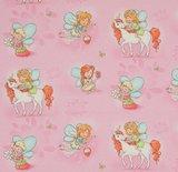 Geplastificeerde katoen elfjes en eenhoorns op roze _