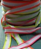 gebreid band 2,5 cm breed: wit met neonlichtgroen_