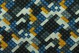 Tricot met de bekende bouwsteentjes zwart/grijs/blauw/geel_