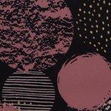 Sonja: grote rondjes oudroze en goud op zwarte softshell, winddicht en waterafstotend_
