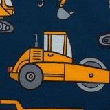Mattes, gele hijskraan, kiepauto, wals enz op donkerblauwe tricot_