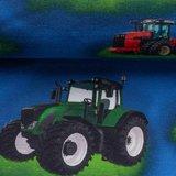 Mattes, tractors op blauwe tricot_
