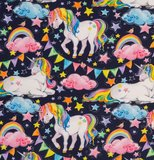 Mattes, eenhoorns, slingers en regenboog op donkerblauwe tricot_