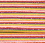 fijne boordstof gestreept met glitter: rood,wit, roze, geel, groen, paars
