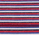 fijne boordstof gestreept met glitter: rood,zwart, wit, blauw