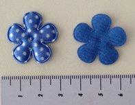 25mm bloemetje blauw satijn met witte stip