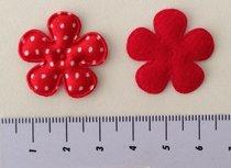 25mm bloemetje rood satijn met witte stip