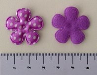 25mm bloemetje paars satijn met witte stip
