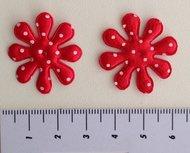 bloem met stip, rood satijn 28mm