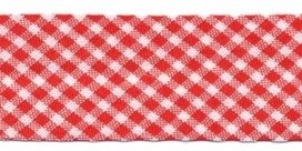 biaisband rood met wit geruit, 23mm