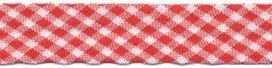 biaisband rood met wit geruit, 14 mm