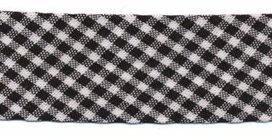 biaisband zwart met wit geruit, 23mm