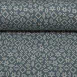 Mattes, geruwde french terry grijs met pixelfiguren. Lila-Lotta design