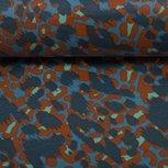 Dunne geplastificeerde katoen vlekken in terracotta, petrol en blauw