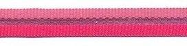 ribsband lroze/fuchsia streep met zilveren streep in het midden
