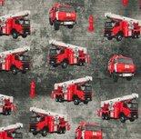 Rode brandweerauto's op grijs/ digitaal bedrukte tricot