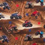 Monstertrucks in het zand / digitaal bedrukte tricot