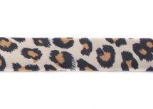 bosje biaisband: panterprint op gebroken wit