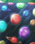 planeten aan de donkere hemel / digitaal bedrukte tricot