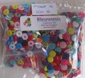 200 kleine snaps in 20 kleuren maat 16