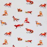 Tricot watercolorprint: vossen op gebroken wit