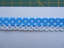 biaisband turquoise/blauw met witte stip en wit randje