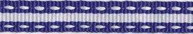 ribsband/blauw met witte rijgdraad en witte streep in het midden