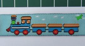 treintjes op lichtblauw/ geweven sierbandje