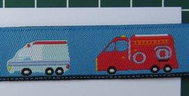 bus, brandweerauto, post, enz op blauw / geweven sierbandje