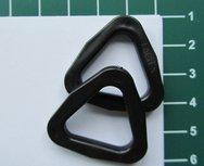 D-ring driehoekig zwart kunststof 22 mm