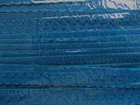 donkerpetrol omvouwelastiek met klein schulprandje op de vouw