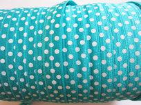omvouwelastiek turquoise met witte stip