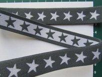 taille-elastiek 2 cm breed: sterren wit met grijs/HALVE METER