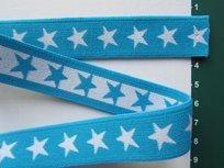 taille-elastiek 2 cm breed: sterren wit met turquoise /HALVE METER