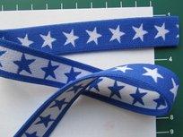 taille-elastiek 2 cm breed: sterren wit met blauw /HALVE METER