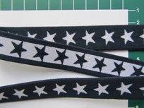 taille-elastiek 2 cm breed: sterren wit op marine /HALVE METER