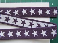 taille-elastiek 2 cm breed: sterren wit op paars /HALVE METER