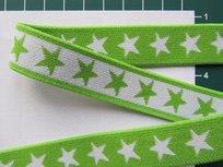 taille-elastiek 2 cm breed: sterren wit op lime /HALVE METER