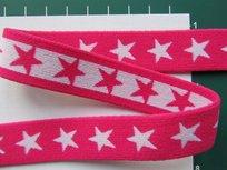 taille-elastiek 2 cm breed: sterren wit op fuchsia /HALVE METER