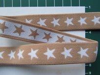 taille-elastiek 2 cm breed: sterren wit op beige /HALVE METER