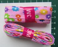 bosje biaisband: bloemetjes op roze ondergrond