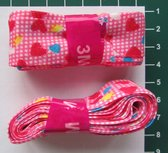 bosje biaisband: hartjes op roze ondergrond