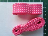 bosje biaisband: roze met witte stippen