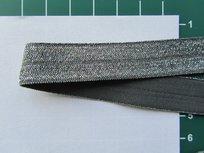 omvouwelastiek met ingeweven glitterdraad: grijs