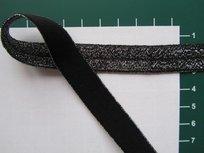 omvouwelastiek met ingeweven glitterdraad:zwart