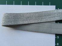 omvouwelastiek met ingeweven glitterdraad: zilver